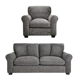 Argos Home Tammy Fabric Chair and 3 Seater Sofa - Charcoal