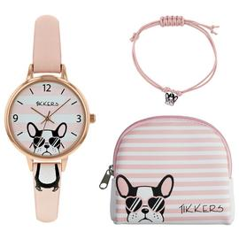 Tikkers Pink Dial Watch Purse and Charm Bracelet Set