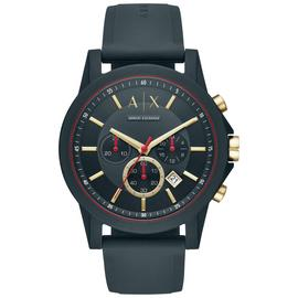 Armani Exchange Blue Dial Mens Silicone Strap Watch