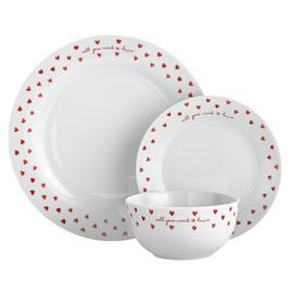 Argos Home 12 Piece Watercolour Hearts Dinner Set - Red