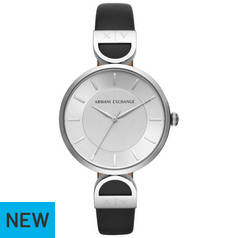 Armani Exchange Silver Dial Black Leather Strap Watch