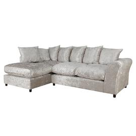 Argos Home Megan Large Left Corner Fabric Sofa - Silver