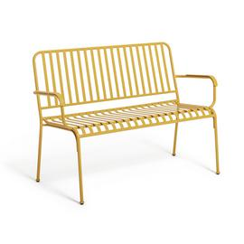 Habitat Indu 3 Seater Metal Bench - Yellow