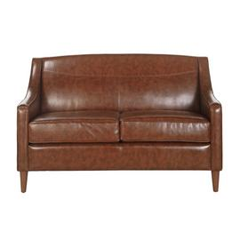 Argos Home Dorian 2 Seater Faux Leather Sofa - Mottled Tan