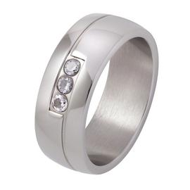 Revere Stainless Steel 3 Stone Cubic Zirconia Wedding Band-U