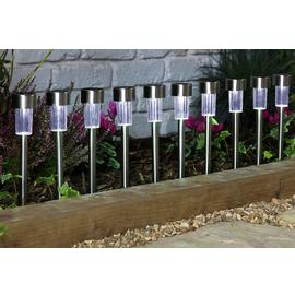 Argos Home Set of 10 Stainless Steel Solar Marker Lights
