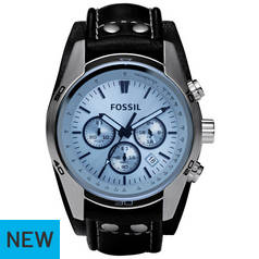 Fossil Black Dial Leather Strap Watch