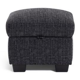 Habitat Lisbon Fabric Footstool - Charcoal
