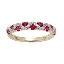 Revere 9ct Gold Created Ruby 0.03cttw Diamond Eternity Ring