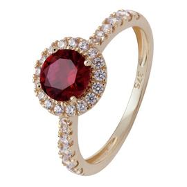 Revere 9ct Gold Ruby Colour Cubic Zirconia Halo Ring - N