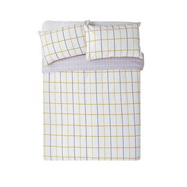 Argos Home Mustard & Grey Checked Bedding Set - Double