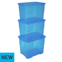 Strata Set of 3 24 Litre Blue Curve Storage Boxes