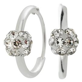 Revere Round Crystal Sterling Silver Ball Hoop Earrings