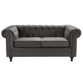 Argos Home Chesterfield 2 Seater Velvet Sofa - Charcoal