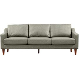Argos Home Brixton 3 Seater Faux Leather Sofa - Grey