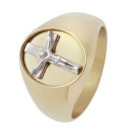 Revere Mens Stainless Steel Gold Plated Crucifix Signet Ring