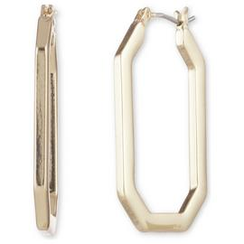 Anne Klein Gold Colour Geometric Shape Hoop Earrings