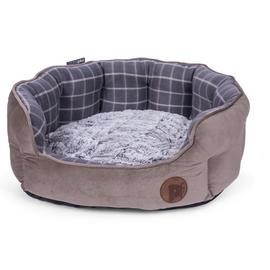 Petface Grey Check Dog Bed - Medium