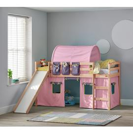 Argos Home Kaycie Pine Midsleeper ,Slide,Rose Tent& Mattress