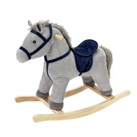 Chad Valley Grey and Blue Cord Rocking Horse