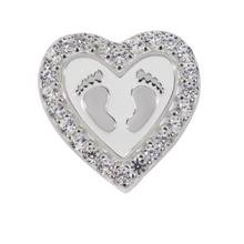 Moon & Back Sterling Silver Cubic Zirconia Baby Feet Charm