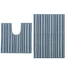 Habitat Coastal Striped Bath and Pedestal Mat Set - Navy