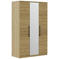 Argos Home Vision Oak Effect 3 Door Mirrored Wardrobe