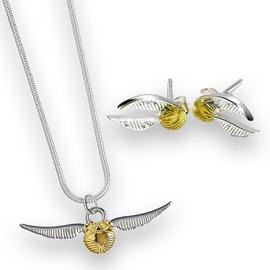 Harry Potter Snitch Silver Necklace and Earring Set