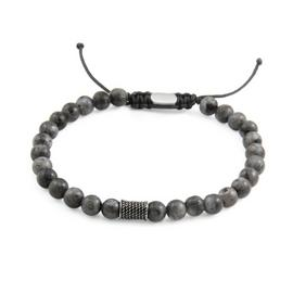 Revere Men's Stainless Steel Black Flash Stone Bracelet
