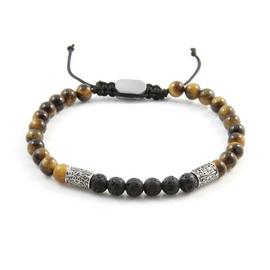 Revere Men's Stainless Steel Tiger Eye Lava Beaded Bracelet