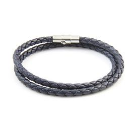 Revere Men's Stainless Steel Leather Double Strand Bracelet
