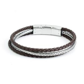 Revere Men's Stainless Steel and Brown Leather Bracelet