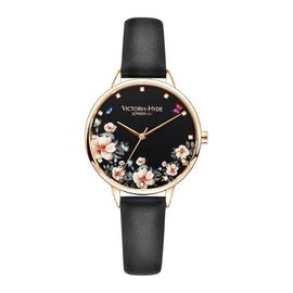 Victoria Hyde Black Leather Strap Watch