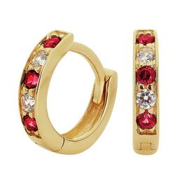 Revere 9ct Gold Round Cubic Zirconia Huggie Hoop Earrings