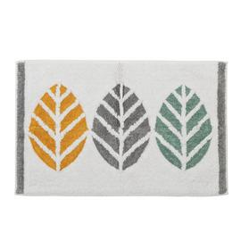 Habitat Cotton Geo Leaf Bath Mat - Multicoloured