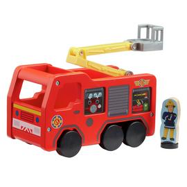 Fireman Sam Wooden Jupiter Fire Engine and Figure