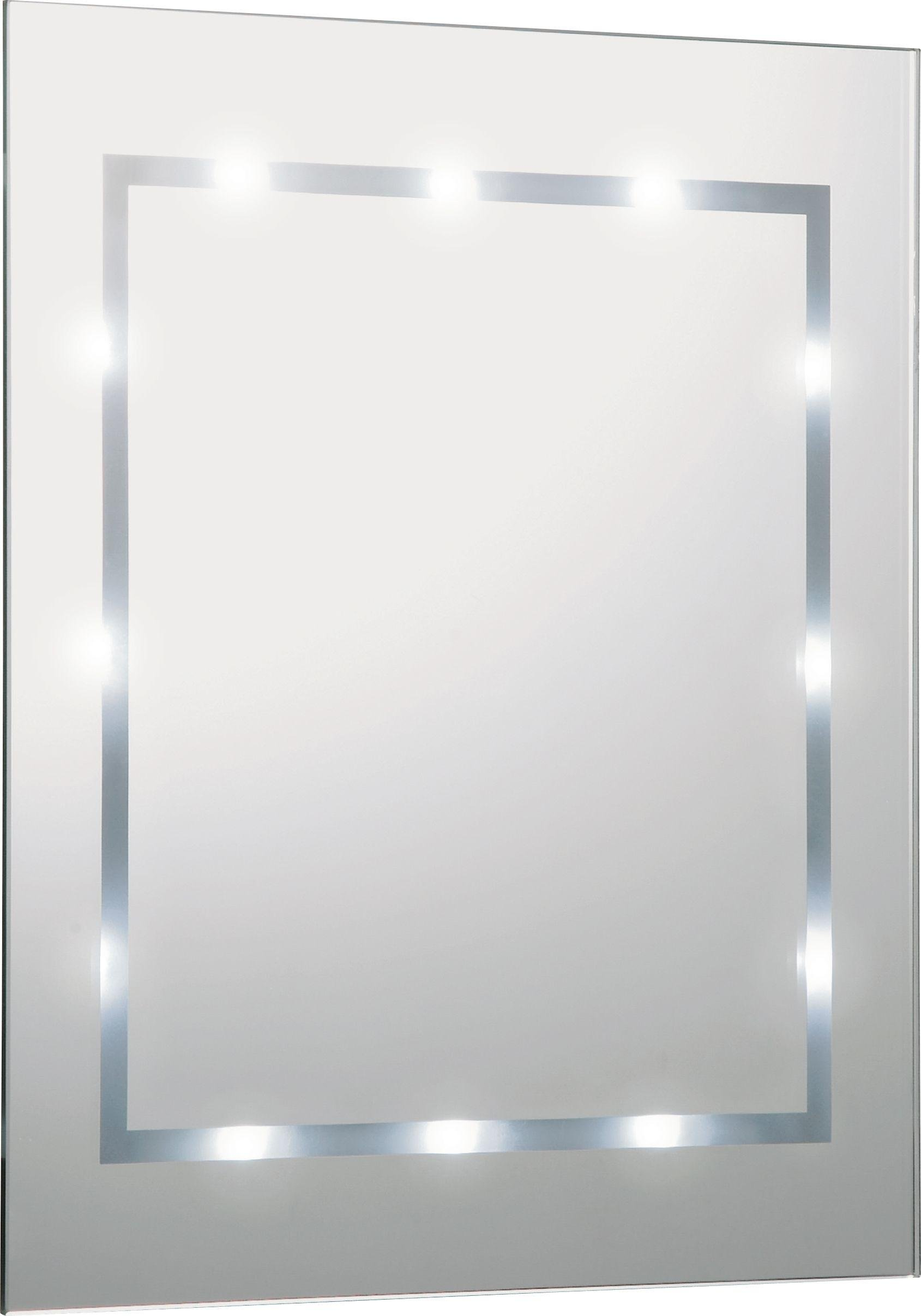 HOME Rectangular Illuminated Bathroom Mirror   White Gloss