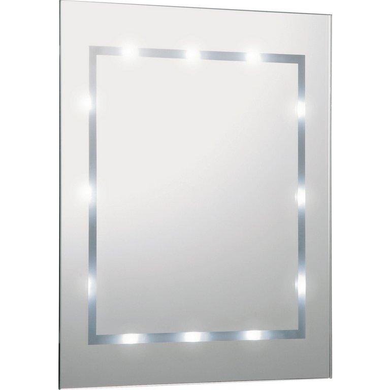 buy home rectangular illuminated bathroom mirror - white gloss at
