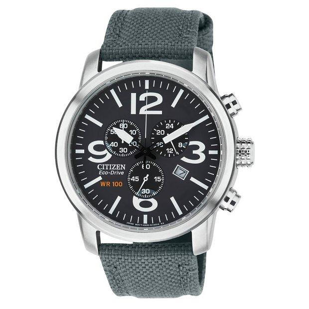 33636ad6aed Buy Citizen Eco-Drive Men's Grey Strap Chronograph Watch | Men's ...