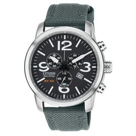 Citizen Eco-Drive Men's Grey Strap Chronograph Watch