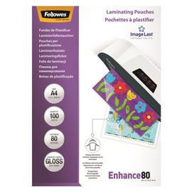 Fellowes A4 80mic Laminating Pouches - 100 Pack