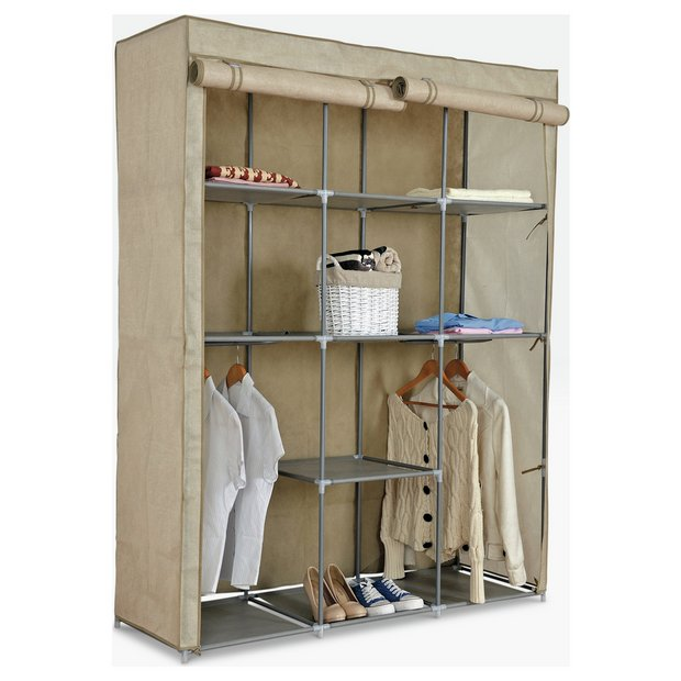 Buy HOME Double Modular Metal Framed Fabric Wardrobe Jute At - Argos modular bedroom furniture