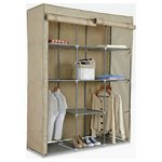 more details on HOME Double Modular Metal Framed Fabric Wardrobe - Jute.