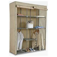 HOME Double Modular Metal Framed Fabric Wardrobe - Jute