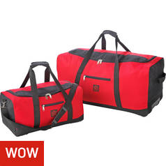Go Explore XL Wheeled Holdall and Small Handheld Bag - Red