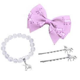 Emoji Kid's Unicorn Hair Clips and Bracelet Set
