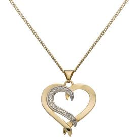 Revere Silver Diamond Accent Heart Pendant 18 Inch Necklace