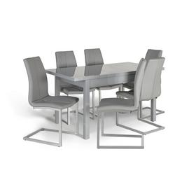 Argos Home Lyssa Extending Gloss Dining Table & 6 Milo Chair