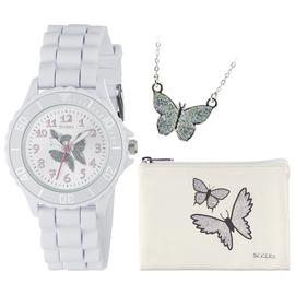 Tikkers White Glitter Butterfly Watch Set