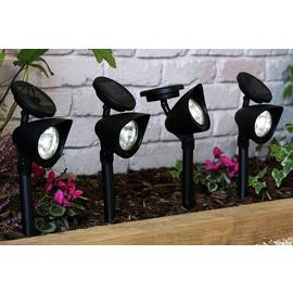 Argos Home Set of 4 Black Solar Spotlights